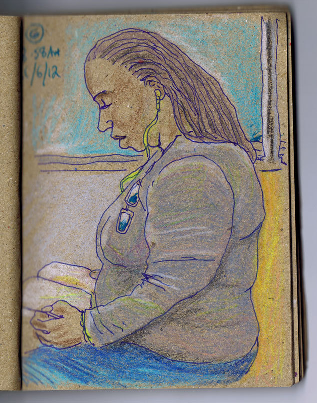 NY portraits: Woman reading, G train, 8.58am, 8/6/12