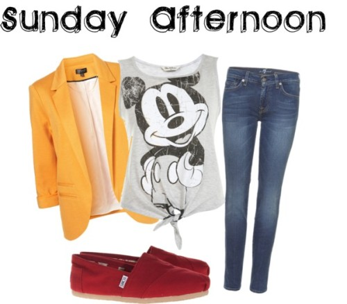 Sunday Afternoon by laura-34 featuring skinny leg jeansMiss Selfridge grey shirt / Boyfriend blazer / 7 For All Mankind skinny leg jeans / TOMS red shoes, $76