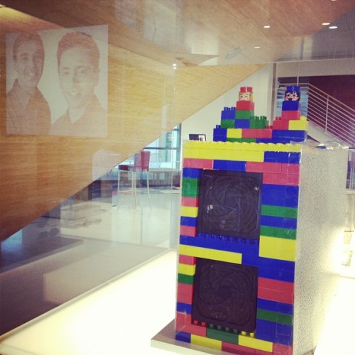 The original Google server, LEGO bricks and all, at Stanford's Huang Engineering Center. Photo: Alfredo Martinez '12
