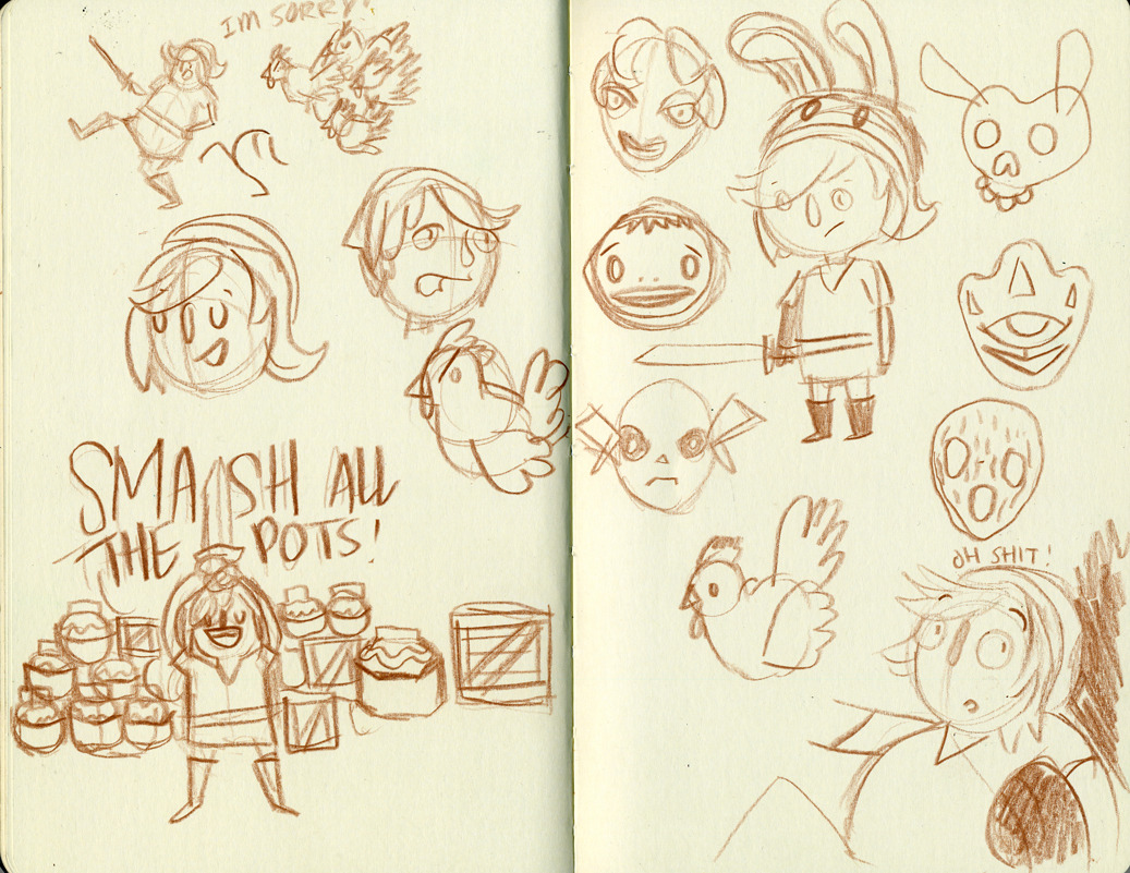 some sketches to jump-start my idea for the Zelda swap at Ten Paces and Draw.