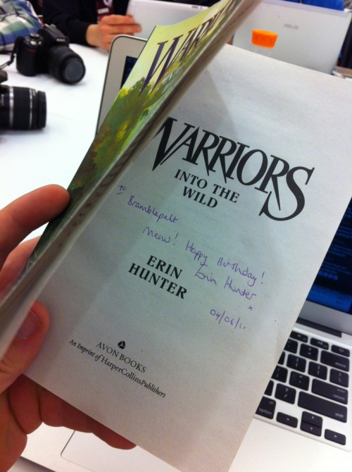 "mbmbam-wisdom:  A copy of Warriors: Into the Wild, signed by author Erin Hunter ""To Bramblepelt"" that @abagaelmccauley and @heather_marion procured for The Brothers. ""These fucking champions had to tell Erin Hunter that the book is for a cat."" - Justin ""They asked her to sign it to Bramblepelt and Erin Hunter made the logical leap, as anyone would, that they were getting the book signed for their cat whose birthday it was. Hey, Erin Hunter! You're too deep in the game! You need to back up a little bit. You're too deep in the cat game, my friend."" - Griffin - Episode 99: Plunger Practicalities (~57:49)"