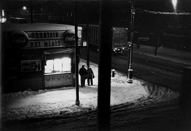 William Gale Gedney     Snowy Night-Two Men In Front of a Diner, Brooklyn, New York     1960