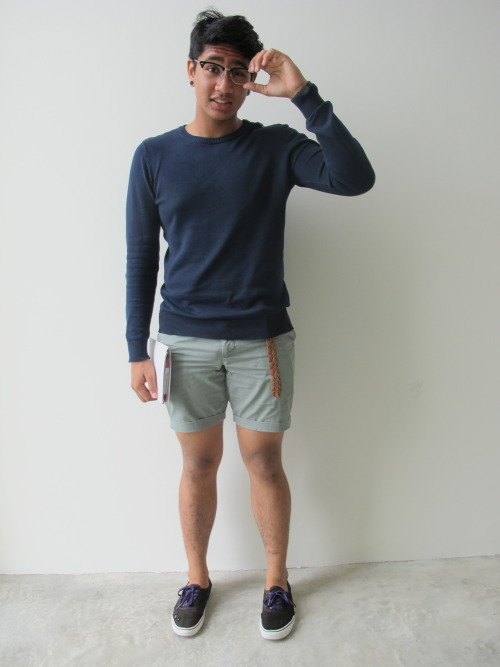 nevernotriding:  Outfit of the Day : Casual Pullover + Folded up Shorts + Brown Weaved Belt + Gothic Vans