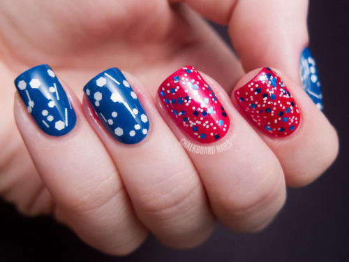 chalkboardnails:  America the Glittery butter LONDON - SlapperOPI - The Color of MinnieAll That Glitters - Spotty Dotty LightDaring Digits - Blueberry Square