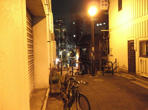 streetlights, backstreet in the middle of Tokyo