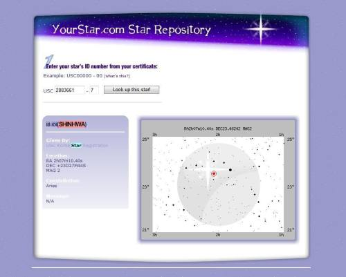 pikapikakuro:  SHINHWA's Star  A star was named after Shinhwa in 2005. In order to commemorate its launching, USC Korea, the official Korean partner USC (Universal Star Council), an American website that provides services for registering names for stars in the sky, offered a star to be named after them. The star is among the Aries constellation. Ironically, it matched the debut date of Shinhwa which falls on March 24, 1998. The star Shinhwa is the brightest among the more than 2 thousand stars with Korean names that can be seen with the naked eye. The star is best seen in November source  They talked about this star @ Beatles Code ^^  I tried searching for this but couldn't find it! Glad someone print screen this. But I think Hye Sung mistakenly said on the Beatles Code that it was a US fan who registered 6 stars for each of them LOL!