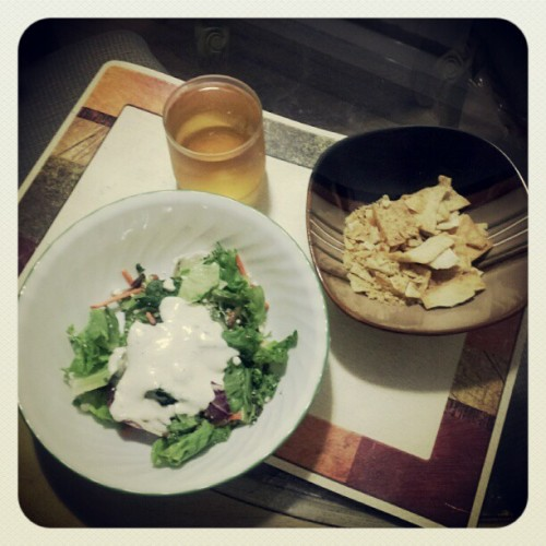 Late night grubbin'. #salad #greentea #pitachips (Taken with Instagram)