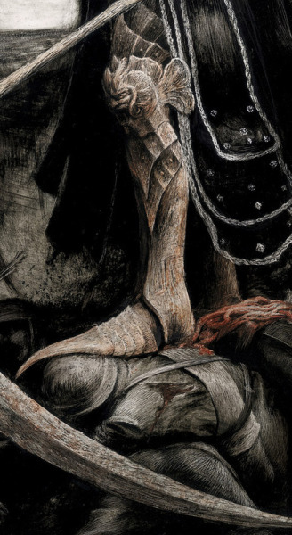 portionsofeternity:   praynightfall: Santiago Caruso- The Reaper: Death´s General (detail)