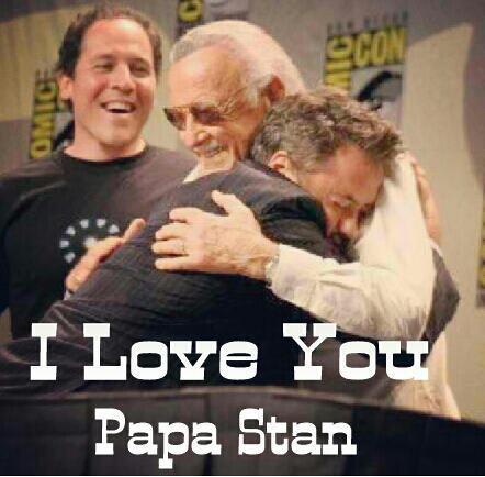 HA I love this picture. Robert Downy Jr hugging Stan THE MAN Lee.LOL