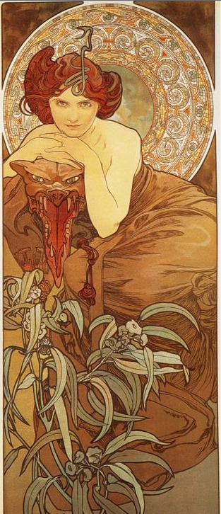 Emerald. From the precious stones series (1900) by Alphonse Mucha.