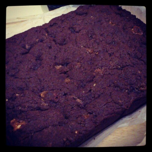 Freshly cooked snickers brownie :D (Taken with Instagram)