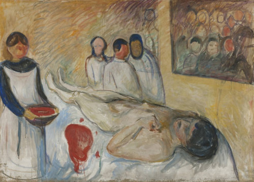 Edvard Munch: The Modern Eye - review There is a self-portrait in this exhilarating show of the artist naked and bleeding on an operating table. A nurse holds a bowl overflowing with blood and a vast stain is spreading through the sheets. Not one but three surgeons are in attendance and dozens of students are observing the agonies through the theatre window: witnesses, as we are, to the artist's martyrdom. Read the complete review, here