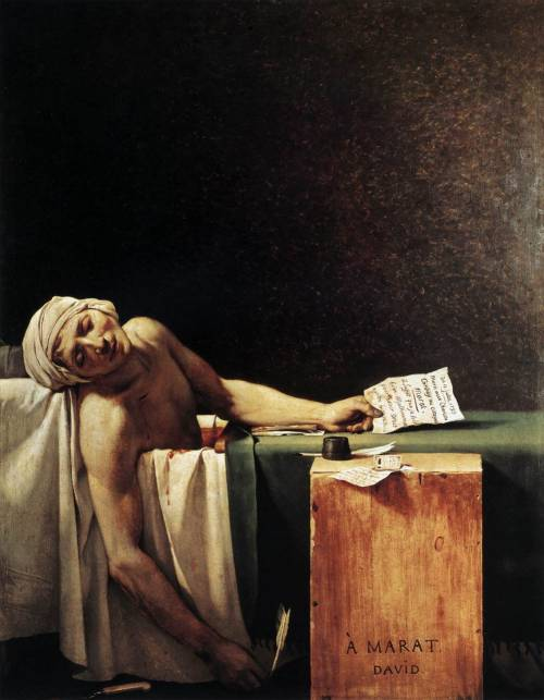 La Mort de Marat, Jacques_Louis_David @credits  The Death of Marat (French: La Mort de Marat or Marat Assassiné) is a painting by Jacques-Louis David of the murdered French revolutionary leader Jean-Paul Marat. It is one of the most famous images of the Revolution. The painting shows the radical journalist lying dead in his bath on 13 July 1793 after his murder by Charlotte Corday.