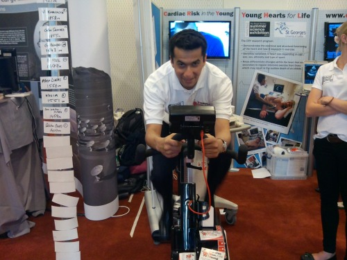 "CRY Research Fellow Dr Ghani is first on the bike this morning ""let the games begin!"""