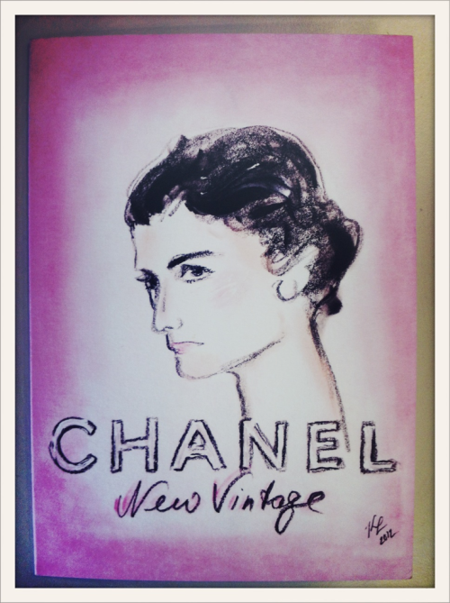 "L'invitation du défilé Chanel haute couture ""New Vintage"" avec le portrait de Mademoiselle Chanel // The Chanel haute couture New Vintage show invitation, with Karl Lagerfeld's sketch of Mademoiselle Chanel"