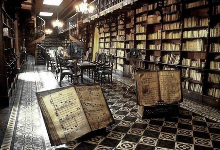 The library in the Convent of San Francisco, Lima, Peru
