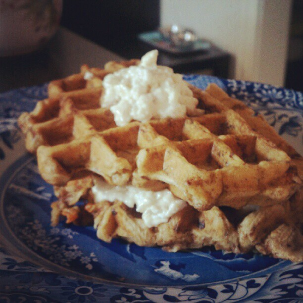 Carrot cake waffles. Happy birthday, Dan! (Taken with Instagram) [Edit: recipe is here.]