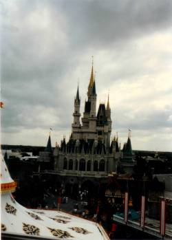 Here's a shot of Cinderella Castle taken from the Skyway. Sadly, the Skyway was removed from the Magic Kingdom in November of 1999. Who misses the Skyway? I do!