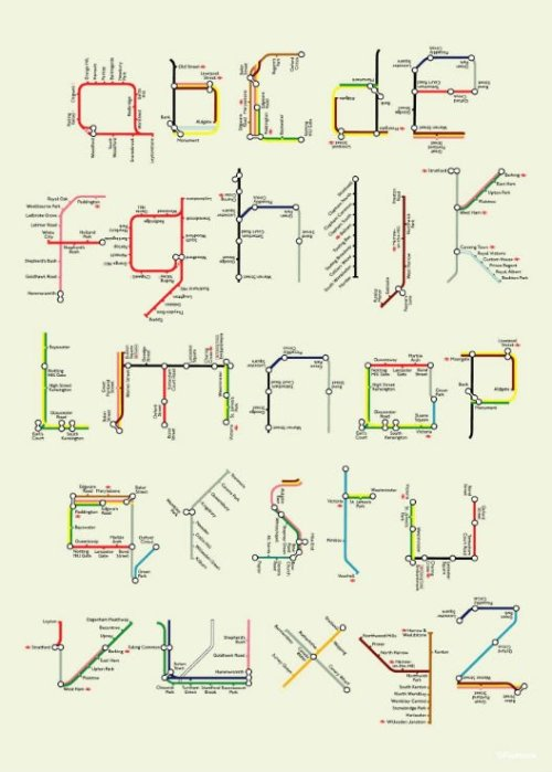 dashperiod:  Tube map alphabet. Cool artwork by Tim Fishlock.  Two of my favorite things, alphabets and rapid transit. (Honesty hour: On a scale of 1 to 10, how dorky is it that rapid transit is among my favorite things?)