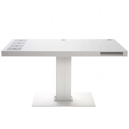 loveandsumverses:  MILK Desk - electronic adjustable height L: 140 x W: 80cm an integrated front file, and four modular square spaces that can be used as garbage bins, pencil holders, an iPod drawer with in-desk cable routing, and even as an aquarium.