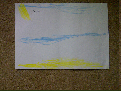 My daughter brought this picture home of a beach. There was something about the simplicity that really struck me. Sand, sea, sky and sun. The essence of a beach experience in 4 abstract components. Interesting how complex interactions and environments cn be rendered simply thru abstraction.