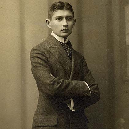 "Franz Kafka was born on this day (7/3) in Prague in 1883. Most people think of him as unhappy, afraid of his father, paranoid, and plaqued by psychosomatic illnesses,guilt and anxiety.  Unfortunately, that does seem to be much of his life. He described himself as ""peevish, miserable, silent, discontented, and sickly."" And the stories and novels we know him for are surreal, dark, and pessimistic. ""The Metamorphosis"", ""In the Penal Colony"", and The Trial reinforce that gloomy image. That's why I was pleased some years ago to read that he actually had some normalcy and happiness in his life. He was a productive and well-liked employee at an insurance company. He enjoyed to row, ride, and swim. And you can see it as sad of happy that he found love and happiness in the last year of his life, with a woman named Dora Diamant. Yes, sadly he was suffering from tuberculosis. Diamant later recalled that ""Everything was done with laughter,"" and ""Kafka was always cheerful. He liked to play; he was a born playmate, always ready for some fun."" Fun + Kafka. I like that better than the usual portrait of him."