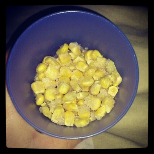 Late night cravings. Frozen corn. <3 (Taken with Instagram)