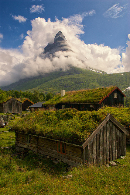 visitheworld:  Renndølsetra with the Innerdal tower in the background, Norway (by Bergen64).