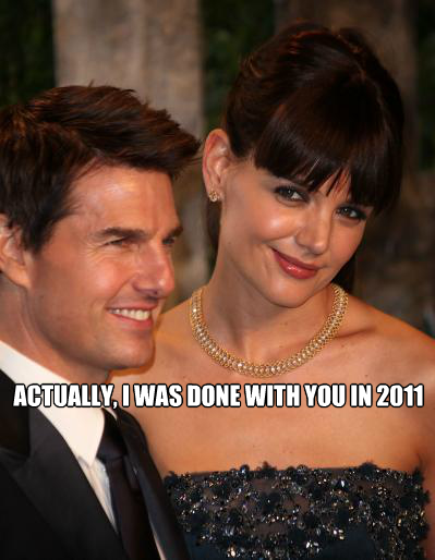 Katie Holmes is now claiming that her marriage to Tom Cruise was broken 6 months ago. That means, technically speaking, the Tom Cruise-Katie Holmes divorce started in 2011. This divorce is setting up to be quite the battle.