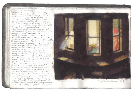 Charles Ritchie, watercolour sketch of Edward Hopper's Night Windows
