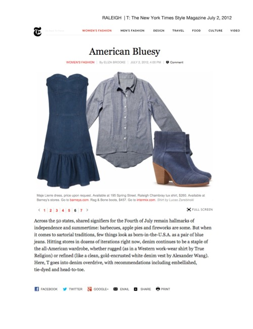 Raleigh Denim featured on T: The New York Times Style Magazine! American Bluesy!http://tmagazine.blogs.nytimes.com/2012/07/02/american-bluesy/