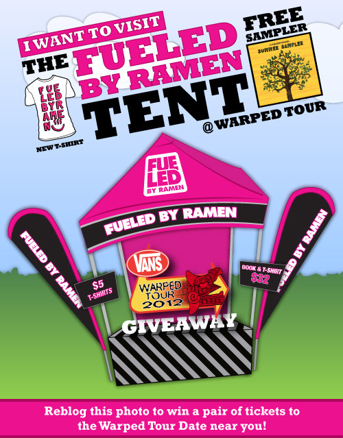 "Fueled By Ramen Warped Tour Ticket Giveaway We still have tickets to each date of the upcoming Vans Warped Tour dates that you can enter to win on Facebook, Twitter, Tumblr and Pinterest. Read below to see how you can enter for your chance to win! You may enter once on each site. HOW TO ENTER: Tumblr: Reblog this post and add which date of The Vans Warped Tour you want to go to. Then email a link of your post to giveaways@fueledbyramen.com with the title 'I Want To Visit The FBR Tent.' Winners for the remaining dates will be choosen and contacted next week!  Facebook:Share the photo HERE on your Facebook timeline and add the date of The Vans Warped Tour that you want to go to. Then email a screenshot of your post to giveaways@fueledbyramen.com with the title 'I Want To Visit The FBR Tent.' Twitter:Tweet: ""I Want To Visit The #FBRtent at @VansWarpedTour on (insert Warped Date & City) http://bit.ly/JZYDXD"" and include the date of The Vans Warped Tour that you want to go to. Then email a link of your tweet to giveaways@fueledbyramen.com with the title 'I Want To Visit The FBR Tent.' Pinterest: Repin the photo HERE and add the date of The Vans Warped Tour that you want to go to. Then email a link or screenshot of your pin to giveaways@fueledbyramen.com with the title 'I Want To Visit The FBR Tent.' Enter to win tickets to the following Vans Warped Tour Dates: 07.21 Uniondale, NY07.22 Hartford, CT07.24 Columbia, MD07.25 Virginia Beach, VA07.26 Atlanta, GA07.27 Orlando, FL07.28 West Palm Beach, FL07.29 St. Petersburg, FL07.30 Charlotte, NC07.31 Cincinnati, OH08.01 Milwaukee, WI08.04 Redmond, WA08.05 Portland, OR"