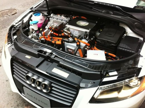 "The Audi A3 e-tron's ""engine"" resembles Terminator X's DJ stack, after a run in with an errant Flavor Flav. More on Audi going electric here.  Photograph by Brett Berk"