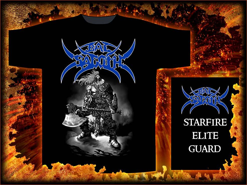 """Starfire Elite Guard"" t-shirt. Just one of the official Bal-Sagoth merchandise items available now from Razamataz. Click here to view the current range of products and to purchase items: http://www.heavymetalonline.co.uk/acatalog/BAL_SAGOTH.html"