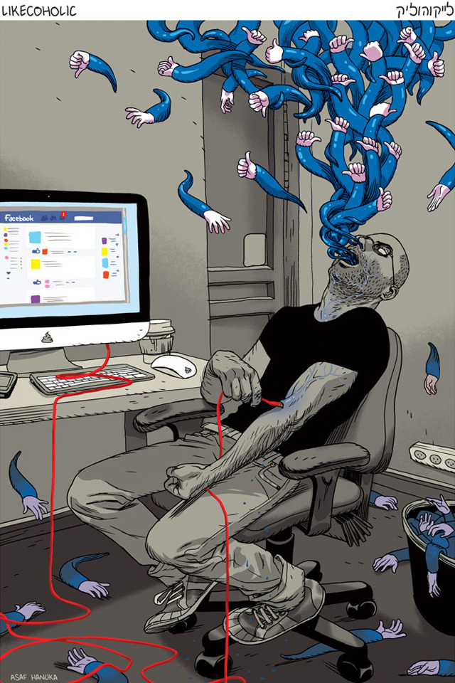 Likecoholic, A Visualization of Facebook Like Addiction by Asaf Hanuka