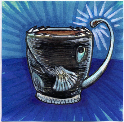 "I drew you a deep sea anglerfish mug of coffee Coffee… must have coffee. Oh look there is some coffee… I dare you to drink it. This deep sea anglerfish mug might just be a trap. How much do you really need coffee anyway? I hope you like it. Today's coffee was inspired by this image that was shared with me by celandinestern at Threadless. This is part of my ""The Daily Coffee"" marker drawing series."