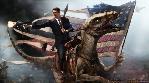 uproxx:  Ronald Reagan Riding A Velociraptor Is Here To Usher In Independence Day  USA USA USA