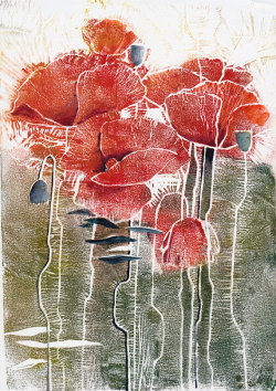 Red Poppies original linocut from Fluid Colors on Etsy.