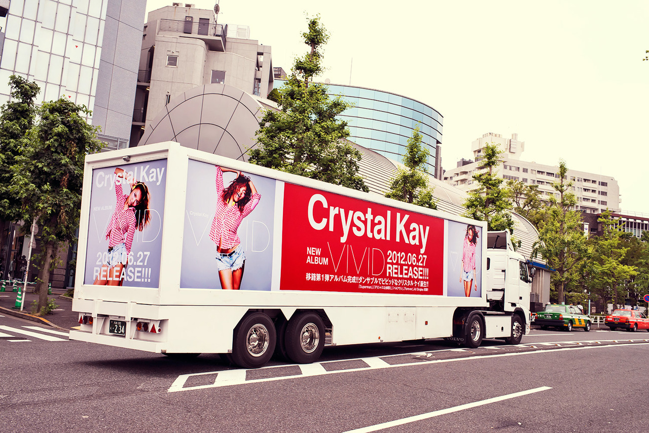 "Crystal Kay ""Vivid"" truck on the street in Shibuya."