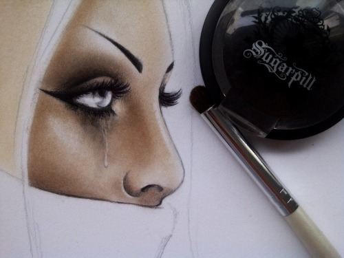 Done with eyeshadow and black pencil