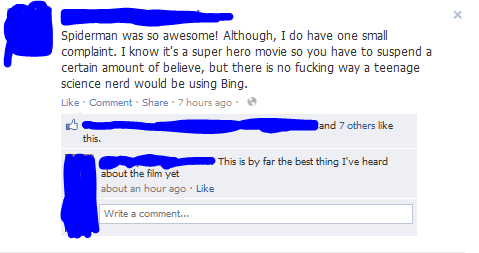 ellensama:  A early review of the new Spiderman movie. Bing, stop trying to shove your self down our throats. Ugh.