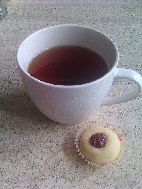 Vanilla Rooibos tea with a home made Hallongrotta (thumbprint cookie)