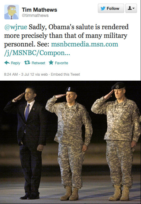 FWIW, that's a pretty tight salute. He stands at attention fairly well, too. You know, for a Kenyan!