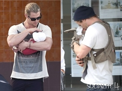 Chris Hemsworth's daughter India Rose looks so little in his massive arms as he lovingly holds her close. Hemsworth carried his baby as he strolled through Madrid, Spain with his mother-in-law Cristina Medianu on Monday 2, July 2012 (via Chris Hemsworth Gives Baby India A Kiss, Cradles Her In His Arms [PHOTOS] - Socialite Life)