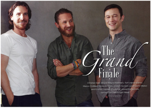 charlidos:  A HQ scan of this lovely photo of Tom Hardy, Christian Bale and Joseph Gordon-Levitt in F Movie Magazine, thanks to heavenly-rain.livejournal!