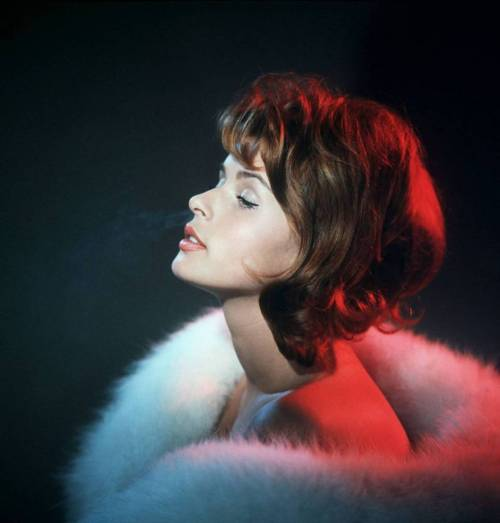 histoires-extraordinaires:  Senta Berger under electric candlelight.