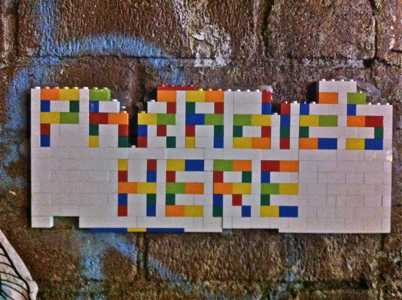 "Lego street art by Brooklyn-based Korean artist Jaye Moon @North 7th Street and Bedford Avenue, Williamsburg, Brooklyn. ""…I chose legos because they are associated with architectural forms, ready-made objects based on industrial and mechanical functions…"" http://www.fountainheadresidency.com/jaye_moon.html"