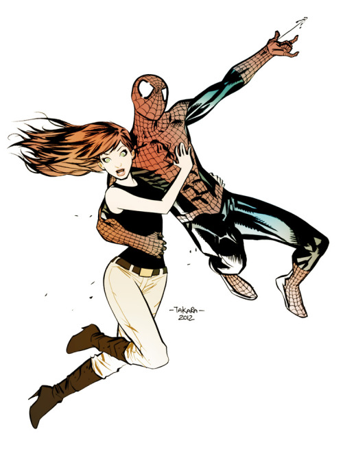 fuckyeahspiderwife:  iamalfff:  (via commission - Mary Jane, Spidey - colors by *marciotakara on deviantART)  Colored version of previous.