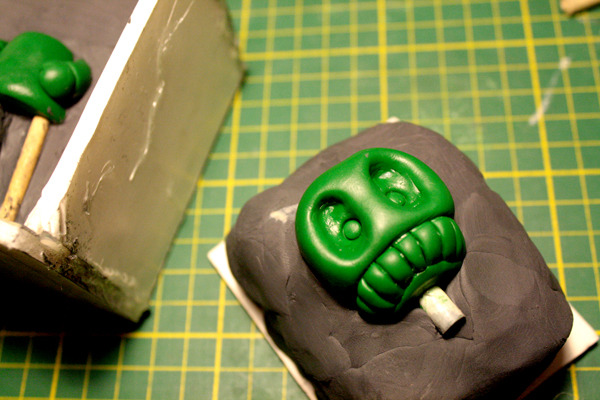 Today I'm starting a new batch of toys. I'm making molds right now, and re-casting sold-out figures in some new colours tonight and tomorrow. Here's a preview of one of the new monsters I'm making a mold for today.