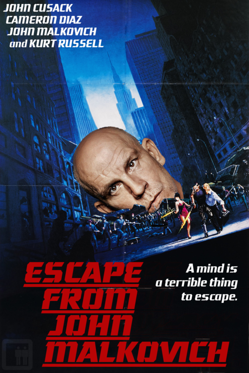 Escape from John Malkovich: Starring John Cusack, Cameron Diaz, John Malkovich's brain, and Kurt Russell Kurt Russell helps John Cusack escape from John Malkovich's brain as it falls apart. See 8 more Unnecessary Movie Sequels at Slacktory.com